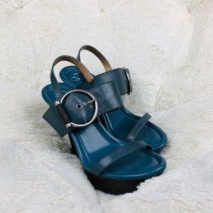 Jessica Simpson Blue Leather Platform Sandal Heels